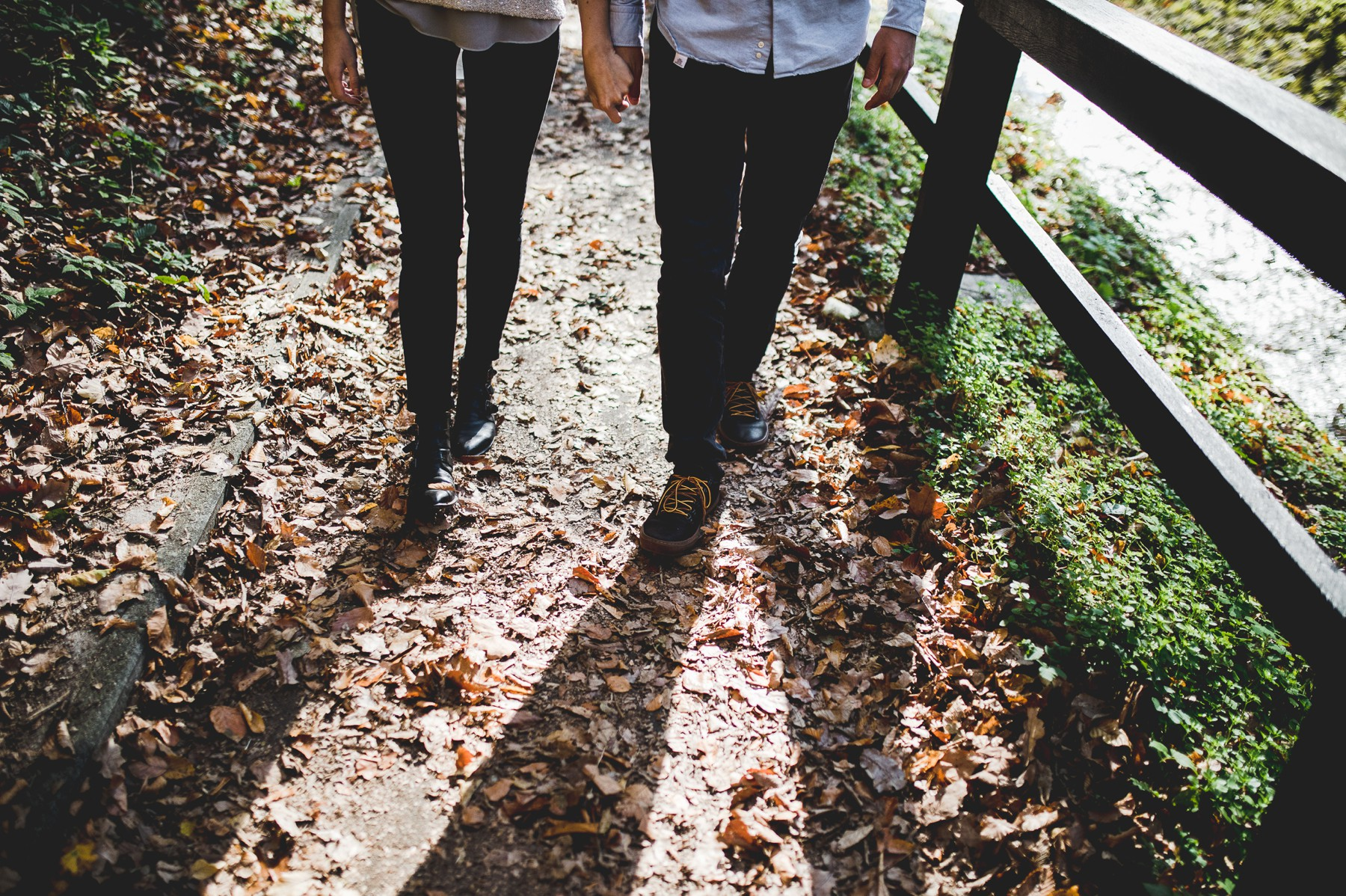 Holding hands and walking
