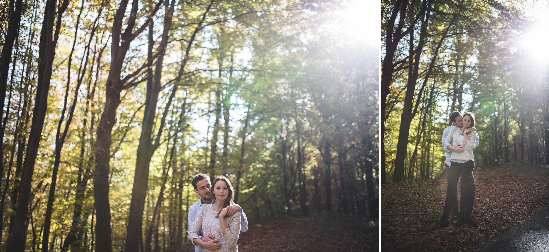 Couple hugging in forrest