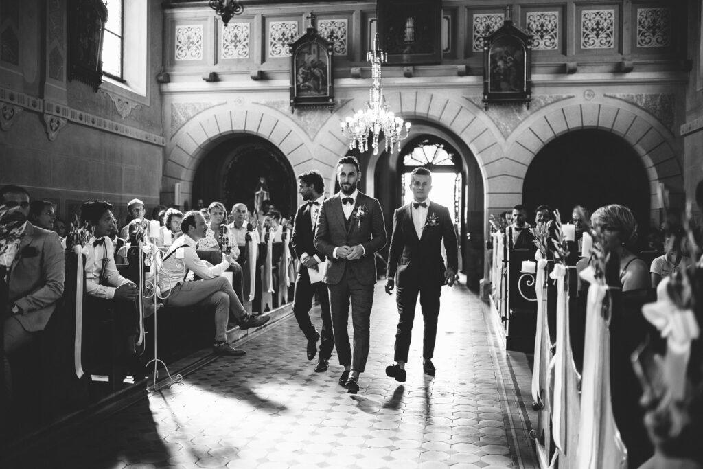 Groom enter in the church